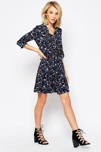 ASOS - QED London Long Sleeve Dress with Chain Detail